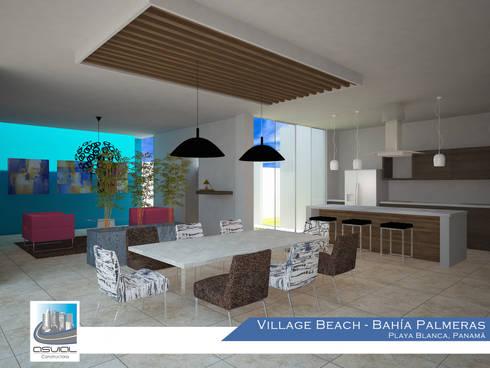Diseño interior de las villas: Cocinas de estilo topical por Constructora Asvial - Desarrollador Inmobiliario
