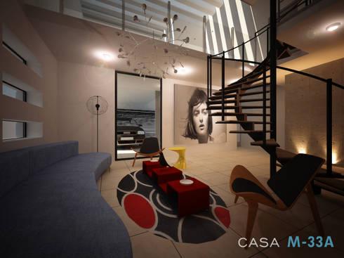 Interior sala: Salas de estilo moderno por Constructora Asvial - Desarrollador Inmobiliario