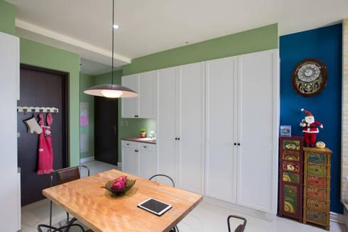 鄉村優雅宅:  餐廳 by 微自然室內裝修設計有限公司