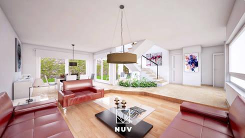 Planta baja - Espacio social: Salas de estilo moderno por NUV Arquitectura