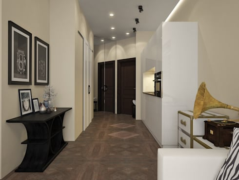 townhouse in modern style:  Corridor & hallway by design studio by Mariya Rubleva