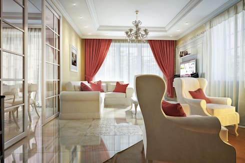large apartment in classic style in Moscow: classic Living room by design studio by Mariya Rubleva
