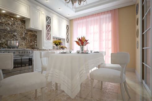large apartment in classic style in Moscow: classic Kitchen by design studio by Mariya Rubleva
