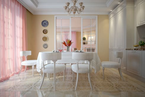 large apartment in classic style in Moscow: classic Dining room by design studio by Mariya Rubleva
