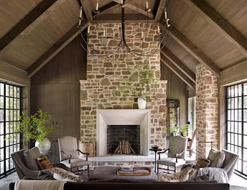 Cottage on the River: rustic Living room by Jeffrey Dungan Architects