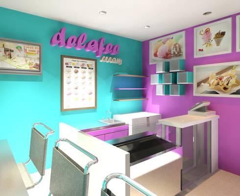 Vista interna lateral derecho: Tiendas y espacios comerciales de estilo  por Diseño Store