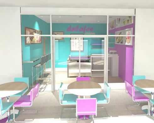 Fachada Local comercial Heladería Delafee: Tiendas y espacios comerciales de estilo  por Diseño Store
