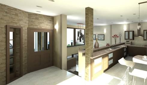 Vista interna desde el área central en planta baja:  de estilo  por Diseño Store