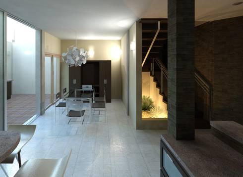 Vista del comedor y escalera:  de estilo  por Diseño Store