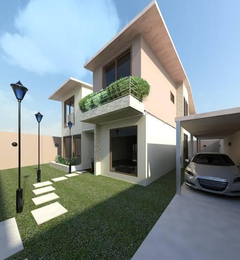 Vista diurna del acceso: Casas de estilo  por Diseño Store