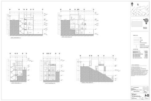 PLANOS ARQUITECTONICOS CORTES Y FACHADAS:  de estilo  por MACRO ARQUITECTURA