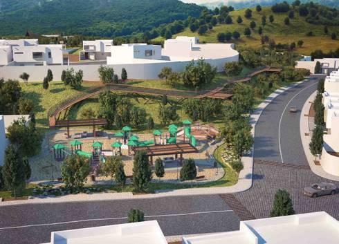 Parque con juegos infantiles: Casas de estilo moderno por Segovia ARQ