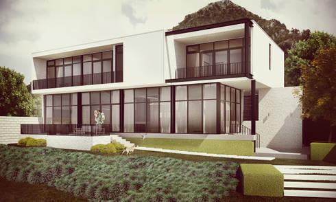 Fachada Trasera: Casas de estilo minimalista por Estudio Volante