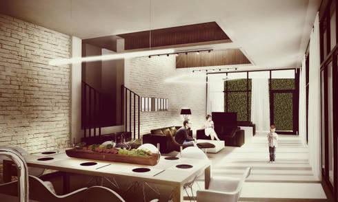Área Social: Salas de estilo minimalista por Estudio Volante