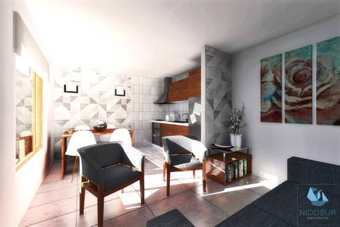 CASA NH: Comedores de estilo moderno por NidoSur Arquitectos