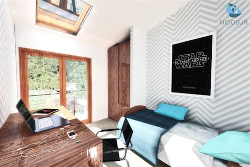 CASA NH: Dormitorios de estilo moderno por NidoSur Arquitectos