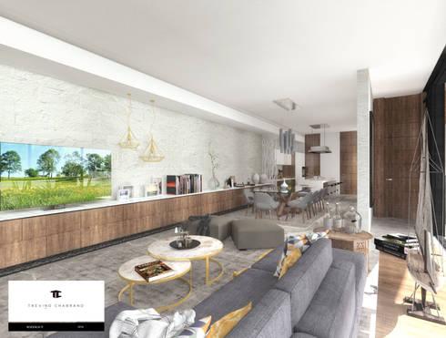 RESIDENCIA TF: Salas de estilo moderno por TREVINO.CHABRAND | Architectural Studio