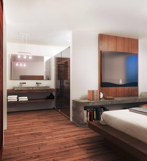 Loft Mil3 [León, Gto]: Baños de estilo  por 3C Arquitectos S.A. de C.V.