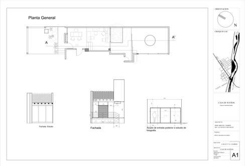Taller de arte & oficinas de fotografía : Salas multimedia de estilo moderno por Arquitectura Positiva