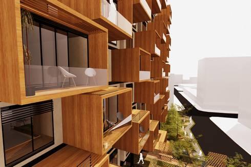 Perspectiva Fachada Norte: Casas de estilo moderno por AbiOS Estudio de Arquitectura