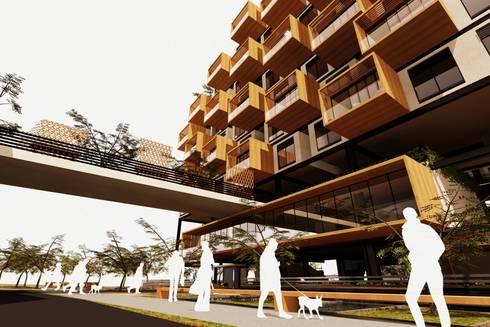 Perspectiva General: Casas de estilo moderno por AbiOS Estudio de Arquitectura
