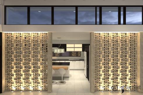Hall de acceso a la cocina / Entrada de luz y ventilación natural : Salas de estilo ecléctico por Arquitectura Positiva