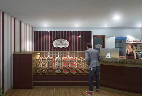 Render interior de Repostería Fina Teresa Morelli : Oficinas y tiendas de estilo  por Arquitectura Positiva