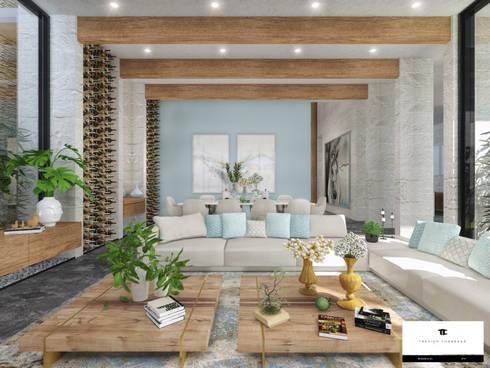 RESIDENCIA SH 2: Salas de estilo moderno por TREVINO.CHABRAND | Architectural Studio