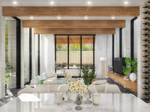RESIDENCIA SH 2: Comedores de estilo moderno por TREVINO.CHABRAND | Architectural Studio