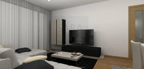 Black & Concrete Living Room: Sala de estar  por Sara Ribeiro - Arquitetura & Design de Interiores