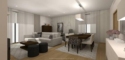 Stripes & Flower Living Room: Salas de jantar ecléticas por Sara Ribeiro - Arquitetura & Design de Interiores