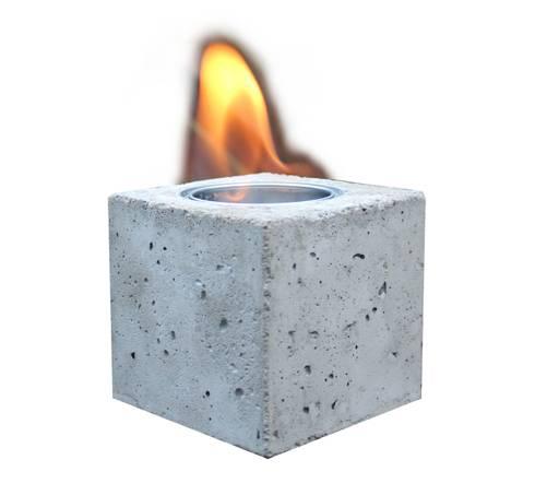 fire cube tischkamin aus beton von q bus lamps jewelry. Black Bedroom Furniture Sets. Home Design Ideas