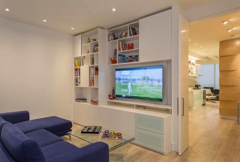 Apto Cr 2 – Cll 69: Salas multimedia de estilo moderno por Bloque B Arquitectos