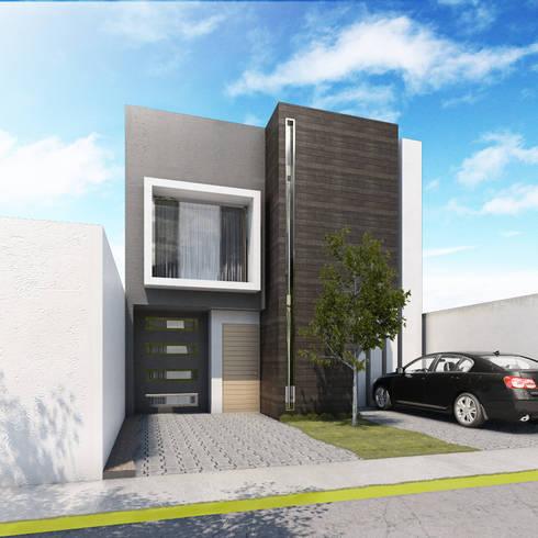 Fachada : Casas de estilo moderno por MARINES STUDIO