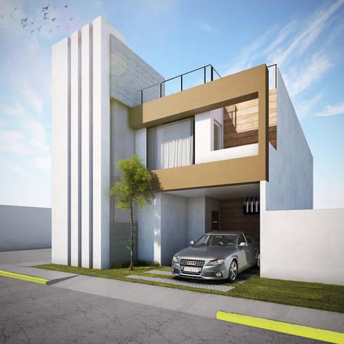 Fachada: Casas de estilo moderno por MARINES STUDIO