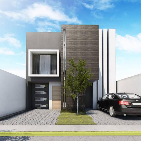 Fachada frontal: Casas de estilo moderno por MARINES STUDIO