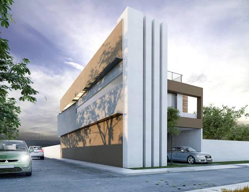 Fachada lateral : Casas de estilo moderno por MARINES STUDIO