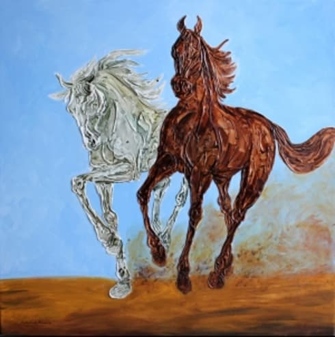 Galloping horses- 17:  Artwork by Indian Art Ideas