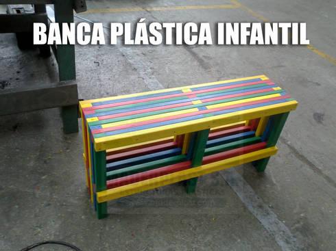 Bancas plásticas infantiles: Habitaciones infantiles de estilo  por Maderplast S.A.