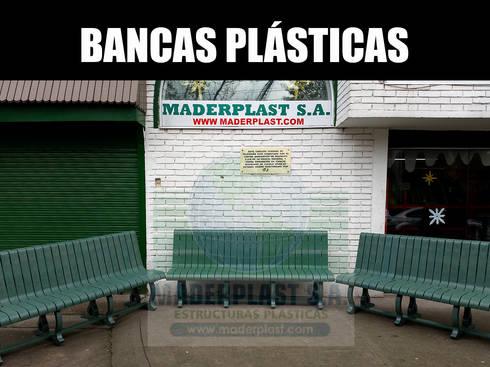 Bancas y sillas plásticas para exteriores: Jardín de estilo  por Maderplast S.A.