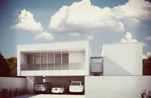 Fachada de Acceso: Casas de estilo minimalista por Estudio Volante