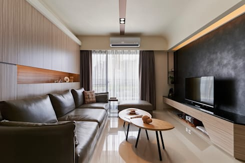石紋般黑牆凸顯獨特美學主張:  客廳 by 青瓷設計工程有限公司
