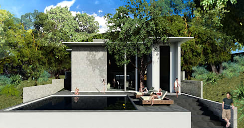 Fachada Trasera: Casas de estilo moderno por VOLEVA arquitectos