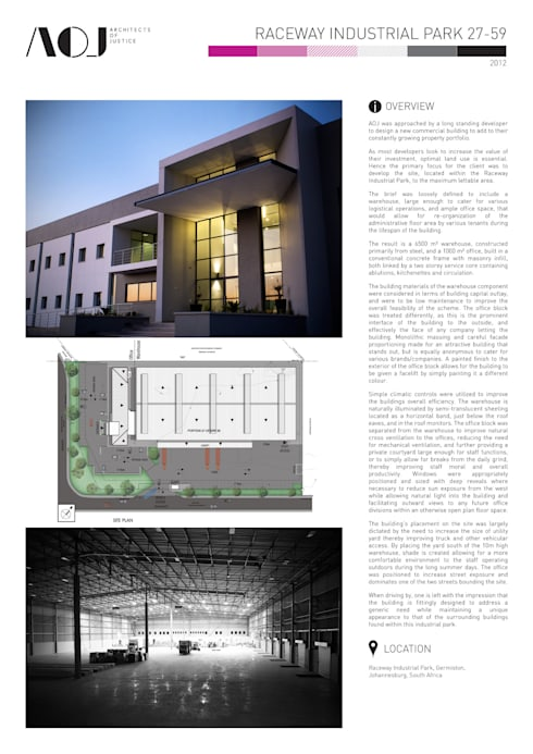 RACEWAY INDUSTRIAL WAREHOUSE & OFFICE:   by Architects Of Justice