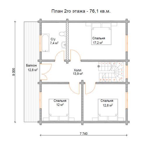 План 2-го этажа:  в . Автор – Open Village