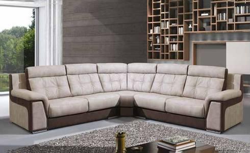 Sofás de canto Corner sofas http://intense-mobiliario.com/pt/128-sofas-de-canto  NILBUD http://intense-mobiliario.com/pt/sofas-de-canto/6802-sofa-de-canto-nilbud.html: Sala de estar  por Intense mobiliário e interiores;