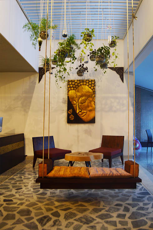 Recepción_jardín colgante: Espacios comerciales de estilo  por Acinco estudio
