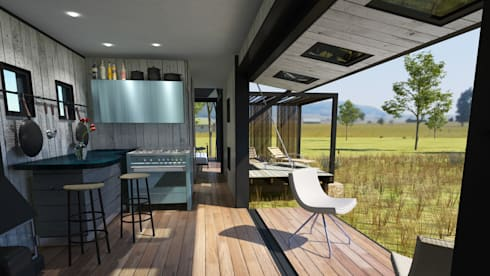 Pop Up retreat—Shipping Container living: industrial Garden by Edge Design Studio Architects