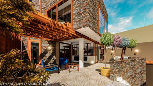 CASA JONES – PROYECTO: Terrazas de estilo  por FRANCO CACERES / Arquitectos & Asociados