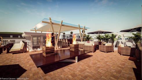 HOTEL BOUTIQUE BARRANCO – LIMA: Terrazas de estilo  por FRANCO CACERES / Arquitectos & Asociados